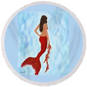 Round Beach Towel featuring the painting Mermaid Ruby by Leslie Allen