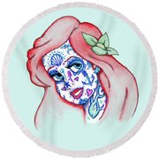 Mermaid Sugar Skull Round Beach Towel