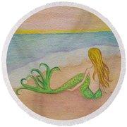Mermaid Sunset Round Beach Towel
