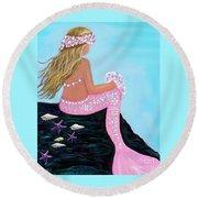 Round Beach Towel featuring the painting Mermaid Sweetie by Leslie Allen