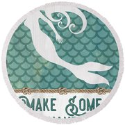 Mermaid Waves 1 Round Beach Towel