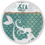 Mermaid Waves 2 Round Beach Towel