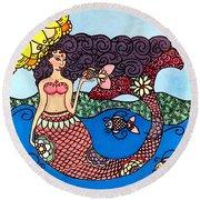 Mermaid With Fish Round Beach Towel