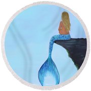 Round Beach Towel featuring the painting Mermaids Bundle To Be by Leslie Allen