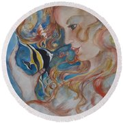 Mermaids Kiss Round Beach Towel
