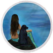 Round Beach Towel featuring the painting Mermaids Loyal Bud by Leslie Allen