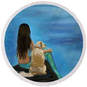 Round Beach Towel featuring the painting Mermaids Loyal Buddy by Leslie Allen