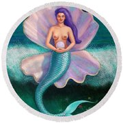 Round Beach Towel featuring the painting Mermaid's Pearl by Sue Halstenberg