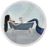Round Beach Towel featuring the painting Mermaids Relaxing Retreat by Leslie Allen
