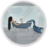 Round Beach Towel featuring the painting Mermaids Relaxing Room by Leslie Allen