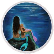 Round Beach Towel featuring the painting Mermaids Sweet Little Girls by Leslie Allen