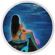 Round Beach Towel featuring the painting Mermaids Sweet Little Ones by Leslie Allen