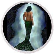 Round Beach Towel featuring the painting Merman Below by Leslie Allen
