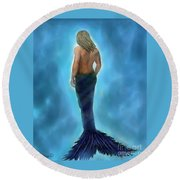 Round Beach Towel featuring the painting Merman Majestic by Leslie Allen