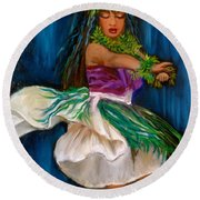 Merrie Monarch Hula Round Beach Towel by Jenny Lee