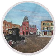 Old New England Town Round Beach Towel