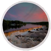 Merrimack River Falls Round Beach Towel