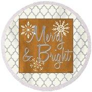 Merry And Bright Round Beach Towel
