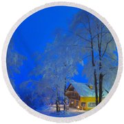 Merry Christmas Cabin Digital Art Round Beach Towel