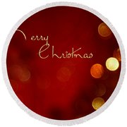 Merry Christmas Card - Bokeh Round Beach Towel