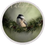 Merry Christmas Chicadee 1 Round Beach Towel