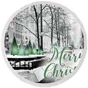 Merry Christmas Chicago Round Beach Towel