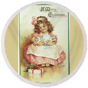 Merry Christmas For My Dolly Round Beach Towel by Reynold Jay