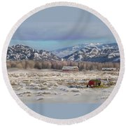 Round Beach Towel featuring the digital art Merry Christmas From Wyoming by Dawn Senior-Trask