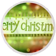 Merry Christmas Greeting Card Round Beach Towel