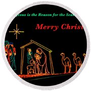 Merry Christmas Round Beach Towel by Penny Lisowski