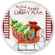 Merry Christmas Santa's Sleigh W Gifts In Snow Round Beach Towel