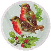 Merry Christmas Snowy Bird Couple Round Beach Towel by Sandi OReilly