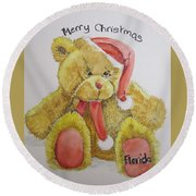 Merry Christmas Teddy  Round Beach Towel