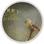 Merry Christmas Winter Goldfinch 1 Round Beach Towel