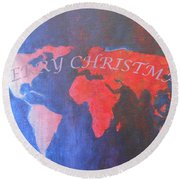 Merry Christmas World 2 Round Beach Towel