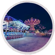 Round Beach Towel featuring the photograph Merry Go Creepy by JD Mims