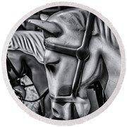 Merry-go-round-horses Round Beach Towel by Ken Morris
