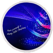 Round Beach Towel featuring the digital art Merry Little Christmas Card 2017 by Kathryn Strick