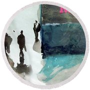 Round Beach Towel featuring the painting Mervy by Ed Heaton