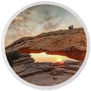 Mesa Arch At Sunrise Round Beach Towel