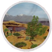 Round Beach Towel featuring the painting Mesa Arch by Linda Feinberg