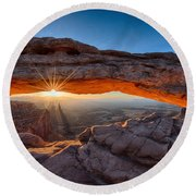 View Through The Mesa Arch At  Sunrise Round Beach Towel