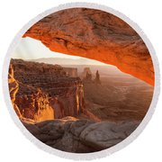 Mesa Arch Sunrise 5 - Canyonlands National Park - Moab Utah Round Beach Towel