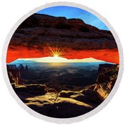 Mesa Arch Sunrise Round Beach Towel