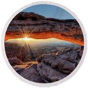 Mesa Arch Sunburst By Olena Art Round Beach Towel