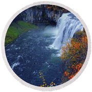 Mesa Falls In The Fall Round Beach Towel