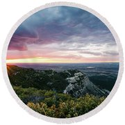 Round Beach Towel featuring the photograph Mesa Verde Sunset by Margaret Pitcher