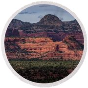 Mescal Mountain Panorama Round Beach Towel