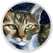 Mesmerizing Eyes - Tabby Cat Painting Round Beach Towel