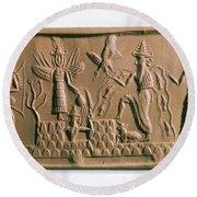 Mesopotamian Gods Round Beach Towel